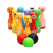 MXtechnic Wooden Bowling Ball with Numbers ,Cute Cartoon Animal Multicolor Skittles Set Sport Toys for Baby Infant Kids --MINI Edition