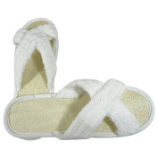 Acqua Sapone Loofah Terry Slippers with Criss-Cross Design - White