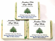 Jonathan Kent Goats Milk Soap, Saturated with 100% Creamy Farm Fresh Goats Milk-Shea Butter, No Water, ROCKY MOUNTAIN PINE 3 BAR PACK. Fresh Pine Fragrance. Pine Forest. Luxurious and Invigorating