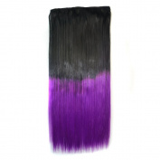 Stepupgirl 60cm Black 1B# Ombre Purple Colour Straight Full Head Synthetic Clip in Hair Extension
