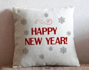 Happy New Year Throw Pillow Covers Decorative Pillowcase with Zip Merry Christmas Gift Cushion Covers 46cm x 46cm