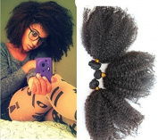 30cm Unprocessed Virgin Mongolian Afro Kinky Curly Human Hair Extensions for Black Women Natural Black 100g/one Bundle