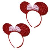 Mini Mouse Headband w/Ribbon Bow - 2 Pcs Set