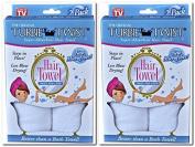 Turbie Twist Microfiber Super Absorbent Hair Towel (2 Pack)white Set of 2