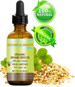 ORGANIC SESAME OIL, 100% Pure / Undiluted / Cold Pressed. 2oz -60 ml. For Face, Hair and Body.