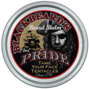 BlackBeard's Pride Beard & Moustache Balm, Leave-in Hair and Skin Conditioner, All Natural Pure Botanicals, Butters, and Essential Oils, Suitable for all Beard and Moustache Types, Mild Cedarwood Citrus Scent, 60ml Tin with Carrying Pouch.