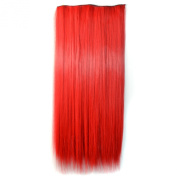 Stepupgirl 60cm Bright Red Colour Straight Full Head Synthetic Clip in Hair Extension