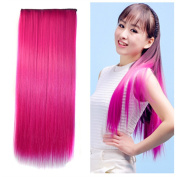 Stepupgirl 60cm Hot Pink Colour Straight Full Head Synthetic Clip in Hair Extension