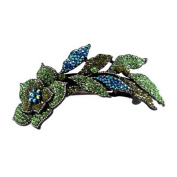 DoubleAccent Hair Jewellery Large Simulated Crystal Long Stem Rose Barrette, Green
