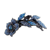 DoubleAccent Hair Jewellery Large Simulated Crystal Long Stem Rose Barrette, Blue