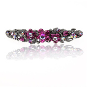 DoubleAccent Hair Jewellery Simulated Crystal Flower Hair Barrettes, Pink