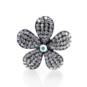 DoubleAccent Hair Jewellery Simulated Crystal Flower Hair Barrettes, White