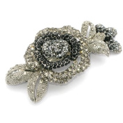 DoubleAccent Hair Jewellery Simulated Crystal Rose Barrettes, Black