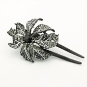 DoubleAccent Hair Jewellery Large Single Flower Simulated Crystal Hair Bun Stick, Black