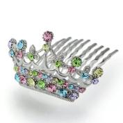 DoubleAccent Hair Jewellery Miniture Simulated Crystal Princess Tiara, Rainbow
