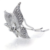 DoubleAccent Hair Jewellery Simulated Crystal Butterfly Hair Stick, White