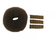 Brown extra large bun ring and 30 piece longer length kirby grip set. Easy to use to create the perfect bun and hold in place. Useful hair accessories.
