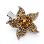 DoubleAccent Hair Jewellery Simulated Crystal Floral Hair Clip, Light Brown