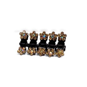 DoubleAccent Hair Jewellery Flower Mini Hair Jaws with Simulated Crystal Petals - Set of 5, Light Brown