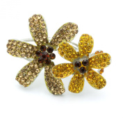 DoubleAccent Hair Jewellery Simulated Crystal Double Flower Hair Jaw, Light Brown