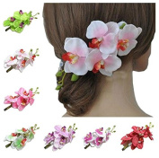 Luckystaryuan ® Set of 7 Weddng Hair Clips Butterfly Orchid Bridal Hair Pins Clips
