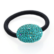 DoubleAccent Hair Jewellery Simulated Crystal Oval Hair Ponytail Holder, Blue