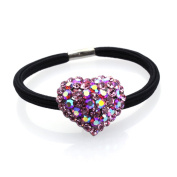 DoubleAccent Hair Jewellery Simulated Crystal Heart Hair Ponytail Holder, Pink