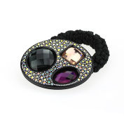 DoubleAccent Hair Jewellery Simulated Crystal Oval Hair Ponytail Holder,