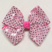 Four Loop Sequin Bow, Hot Pink, French Clip, Batch U2