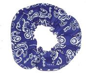 Blue Bandana Print Cotton Fabric Hair Scrunchie Handmade by Scrunchies by Sherry