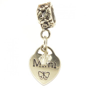 Mimi Heart with Clear Crystal, April Birthstone Small Sterling Silver Dangle Charm