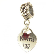 Mimi Heart with Ruby Crystal July Birthstone Small Sterling Silver Dangle Charm