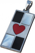 RaanPahMuang Hustler Card Deck of Hearts Stainless Steel Pendant Charm