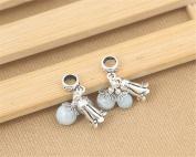 Luoyi 1pc Natural Amazonite Pendant, Sterling Silver Flower Dangle Bead Fit European Charm Bracelet