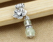Luoyi 1pc Natural Prehnite Gourd Pendant, Sterling Silver Plum Blossom Dangle Bead Fit DIY Jewellery