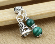 Luoyi 1pc Natural Malachite Gourd Pendant, Sterling Silver Bell Dangle Bead Fit DIY Jewellery