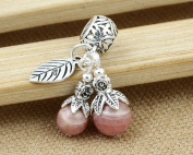 Luoyi 1pc Natural Rhodochrosite Pendant, Sterling Silver Fruit Dangle Bead Fit European Charm Bracelet