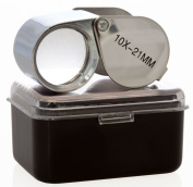 Aiernuo Glass Jeweller Loupe Loop Eye Magnifier Magnifying Magnifier Metal Body Silver