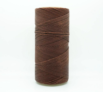 BROWN 1mm Waxed Polyester Twisted Cord Macrame Bracelet Thread Artisan String (180yards Spool)