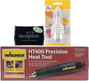 Embossing Heat Gun, Watermark Stamp Pad, and Powder Tool Applicator Bundle - 3 Items