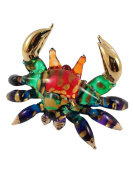 TINY CRYSTAL CRAB HAND BLOWN CLEAR GLASS ART CRAB FIGURINE ANIMALS COLLECTION GLASS BLOWN