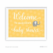 Andaz Press Yellow Grey Gender Neutral Elephant Baby Shower Collection, Personalised Party Sign, Welcome to Madison's Baby Shower, 22cm x 28cm , 1-Pack