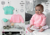King Cole Double Knitting DK Pattern Baby Set Hat and Long and Short Sleeve Sweaters 4395