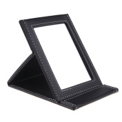 Anself Makeup Mirror Travel Leather Portable Foldable Mirror Red