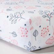Woven Fitted Crib Sheet - Navy n' Pink Flowers - CircoTM