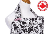BebeChicCanada * High Quality 100% Cotton * Breastfeeding Covers * Boned Nursing Tops - white with black flowers
