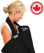 BebeChicCanada * High Quality 100% Cotton * Breastfeeding Covers * Boned Nursing Tops - tiny black / white dot . Spotty)