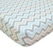 TL Care 100% Cotton Percale Fitted Crib Sheet, Blue Zigzag