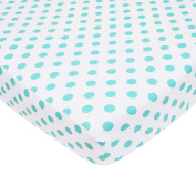 TL Care 100% Cotton Percale Fitted Crib Sheet, White with Aqua Dot