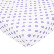 TL Care 100% Cotton Percale Fitted Crib Sheet, White with Lavender Dot